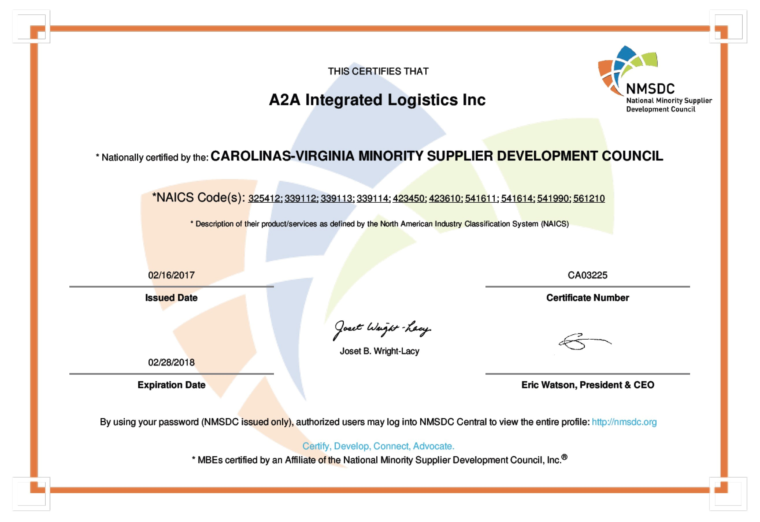 Certifications a2a logistics a2a is a certified mbe through the national minority supplier development council nmsdc within the carolinas virginia chapter xflitez Choice Image